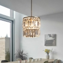 1 Light Bedroom Hanging Lighting Modern Brass Pendant Lamp Fixture with Cylinder Crystal Shade