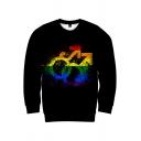 Cool Boys Black Long Sleeve Crew Neck Colorful Gender Symbol Stripe Hand Pattern Regular Fit Pullover Sweatshirt