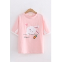 Lovely Girls Short Sleeve Crew Neck Japanese Letter Rabbit Carrot Graphic Contrasted Ear Patched Relaxed T-Shirt