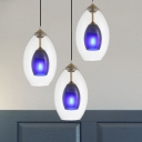 3 Heads Coffee House Cluster Pendant Modern White Ceiling Hang Fixture with Dual Oval Clear and Blue Glass Shade