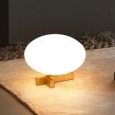 Egg Shaped Night Table Lamp Post Modern Opal Glass 1 Head Bedside Desk Light in Gold