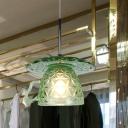 Saucer and Cup Pendant Light Kit Designer Green Textured Glass 1 Bulb Restaurant Suspension Lamp