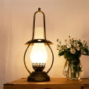 Coastal Lantern Table Lamp 1-Head Frosted Glass Desk Lighting in Brass for Living Room