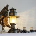 1 Head Kerosene Desk Lighting Industrial Brass Finish Yellow Crackle Glass Table Lamp