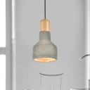 Vintage Jar Shaped Ceiling Light 1-Light Cement Hanging Pendant Lamp in Grey/Red/Blue and Wood