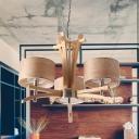 3/6-Head Living Room Chandelier Lighting Modernist Beige Hanging Lamp Kit with Drum Wood Veneer Shade