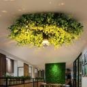Loft Wheel Flush Light Fixture 1-Light Iron Flush Mount Recessed Lighting in Green with Artificial Plant