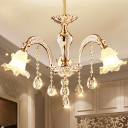 3/6 Heads Chandelier Pendant Light Traditional Bedroom Hanging Lamp Kit with Flower Frosted Glass Shade in Gold