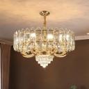 K9 Crystal Panel Hanging Chandelier Modernism 10-Bulb Restaurant Ceiling Suspension Lamp in Gold