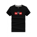 Chic Mens Short Sleeve Crew Neck Letter Dog Graphic Slim Fitted T-Shirt