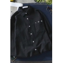 Chic Simple Boys Long Sleeve Lapel Collar Button Down Korean Letter Embroidery Chest Pocket Linen Oversize Shirt