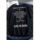 Chic Hip Hop Guys Short Sleeve Crew Neck Letter GOD IS DOPE Loose T Shirt