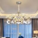 Modernism Conical Pendant Chandelier 6/8 Heads Clear Crystal Block LED Hanging Light Kit