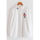 Cute Girls Long Sleeve Lapel Neck Button Up Cartoon Embroidered Patched Relaxed Fit Shirt in White