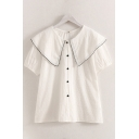 Popular Womens Short Sleeve Sailor Collar Button Up Contrast Piped Relaxed Blouse Top in White