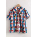 Pretty Fashion Womens Sailor Collar Pom Pom Button Up Checkered All Over Mixed Cartoon Print Relaxed Blouse Top in Blue