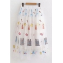 Gorgeous Girls White Elastic Waist All Over Floral Embroidered See-Through Mesh Midi Pleated A-Line Skirt