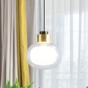 Mini Dual Oval Bedside Pendulum Light Clear and Frosted Glass 1 Light Minimalist Hanging Pendant in Brass