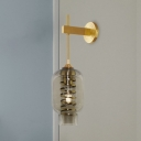 Ellipse Dining Room Wall Lighting Smoke Glass 1-Light Vintage Sconce Lamp with Inner Spiral Guard in Brass