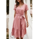 Pretty Ladies Short Sleeve V-Neck Stripe Printed Bow Tie Waist Ruffled Trim Midi A-Line Dress