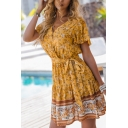 Ladies Beach Fancy Bell Sleeves Surplice Neck Bow Tie Waist All Over Floral Print Ruffled Trim Colorblock Short Pleated A-Line Dress in Yellow