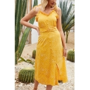 Gorgeous Ladies Sleeveless Bow Tie Shoulder Oblique Button Down Stringy Selvedge Polka Dot Print Slit Front Maxi A-Line Cami Dress in Yellow