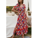 Popular Pretty Ladies Short Sleeve V-Neck Button Up All Over Flower Printed Slit Side Hollow Out Panel Ruffled Maxi Pleated Flowy Dress