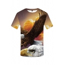 Popular Mens Short Sleeve Crew Neck 3D Eagle Printed Regular Fit T-Shirt in Yellow