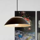 Handmade Bamboo Wide Bowl Pendant Lamp Nordic 1 Head Black/White Finish Hanging Light Fixture