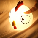 Cartoon Chick Shape Night Light Silica Gel LED Bedroom Touching Night Lamp in White and Red