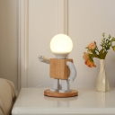 Robot Shape Small Desk Light Cartoon Metal 1 Light White and Wood Night Table Lamp