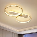 Double Ring Ceiling Mounted Light Simple Metallic LED Gold Flushmount Lamp in Warm/White Light