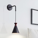 Modernist 1 Bulb Sconce Lighting Black/Grey/White Finish Flared Wall Mount Pendant Lamp with Iron Shade