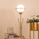 Globe White Glass Nightstand Light Post Modern 1 Light Brass Finish Night Table Lamp with Trident Base