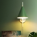 Nordic Deep Cone Iron Wall Lamp 1 Bulb Wall Sconce Light in Grey/Pink/Green with Piercing Rod Arm