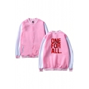 Guys Fancy Popular Long Sleeve Button Up Letter ONE FOR ALL Color Block Loose Baseball Jacket in Pink