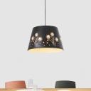 Black/White/Blue Barrel Drop Pendant Macaron 1 Head Metal Ceiling Hang Fixture with Floral Pattern