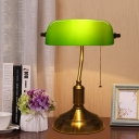 Polished Bronze Pull Chain Table Lamp Vintage Green Glass Single Living Room Night Light with Pivot Shade