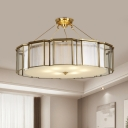 4 Bulbs Frosted Glass Semi Flush Mount Traditional Brass Drum Parlor Ceiling Lighting with Outer Panel Cage