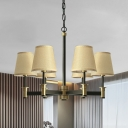 Fabric White/Beige Pendant Chandelier Barrel 6 Lights Countryside Radial Ceiling Hang Fixture