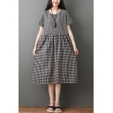 Popular Womens Short Sleeve Round Neck Plaid Pattern Patched Linen Mid Pleated Swing Dress