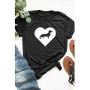 Popular Girls Rolled Short Sleeve Crew Neck Dog Heart Pattern Contrasted Slim Fit T Shirt