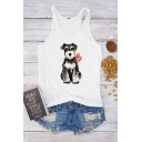 Fancy Girls Sleeveless Scoop Neck Dog Printed Racer Back Relaxed Fitted Tank Top in White