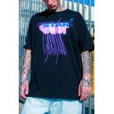 Stylish Letter Star Vamtac Print Contrasted Short Sleeve Crew Neck Oversize T Shirt for Boys