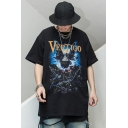 Punk Black Letter Vertigo Skull Devil Graphic Half Sleeves Crew Neck Oversize Tee Top for Boys