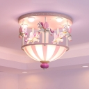 Carrousel Resin Flush Lighting Kids 5 Heads Pink/Blue Finish Ceiling Mounted Fixture for Bedroom