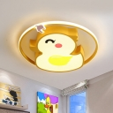 Cute Duck Acrylic Flush Lighting Cartoon LED Yellow Flush Mount Lamp Fixture for Kids Room