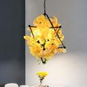 Rural Blooming Hanging Light Fixture 4 Heads Metal Chandelier in Yellow/Red with Pentagram Frame