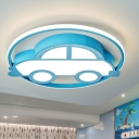 Blue Car Flush Mounted Lamp Cartoon Acrylic LED Ceiling Lighting in Warm/White Light for Kids Bedroom