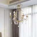 Gold Candle Ceiling Chandelier Vintage Crystal 6 Lights Dining Room Hanging Pendant